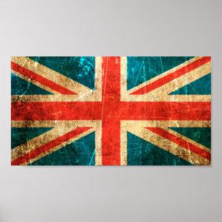 Bandera rasguñada y llevada de Británicos del vint Póster