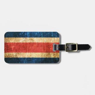 Bandera rasguñada y llevada de Costa Rica del vint Etiqueta De Maleta