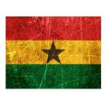 Bandera rasguñada y llevada de Ghana del vintage Postal