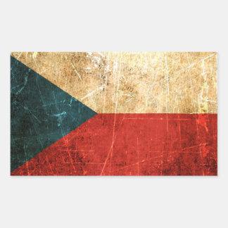 Bandera rasguñada y llevada de la República Checa Pegatina Rectangular