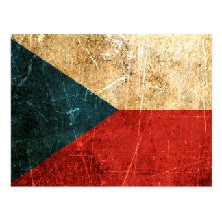 Bandera rasguñada y llevada de la República Checa  Tarjetas Postales