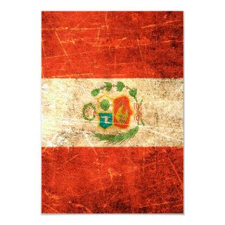 """Bandera rasguñada y llevada de los Peruvian del Invitación 3.5"""" X 5"""""""