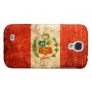 Bandera rasguñada y llevada de los Peruvian del vi Funda Para Galaxy S4