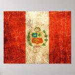 Bandera rasguñada y llevada de los Peruvian del vi Impresiones
