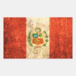 Bandera rasguñada y llevada de los Peruvian del vi Etiqueta
