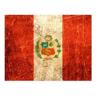 Bandera rasguñada y llevada de los Peruvian del vi Tarjetas Postales