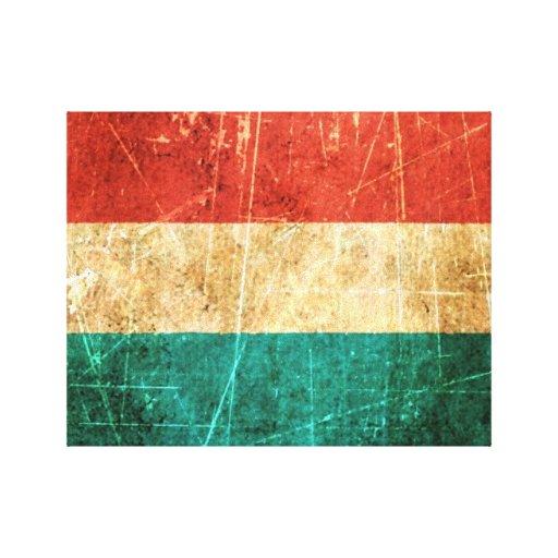 Bandera rasguñada y llevada de Luxemburgo del vint Impresión En Lona Estirada