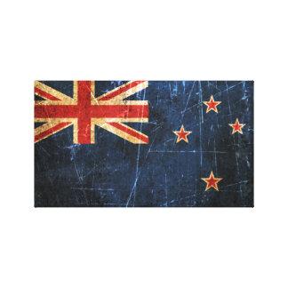Bandera rasguñada y llevada de Nueva Zelanda del v Impresion De Lienzo