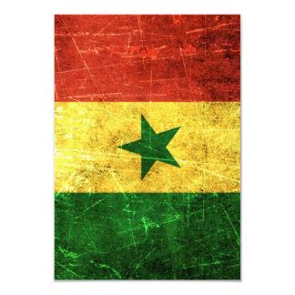 """Bandera rasguñada y llevada de Senegal del vintage Invitación 3.5"""" X 5"""""""