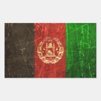 Bandera rasguñada y llevada del afgano del vintage rectangular pegatinas