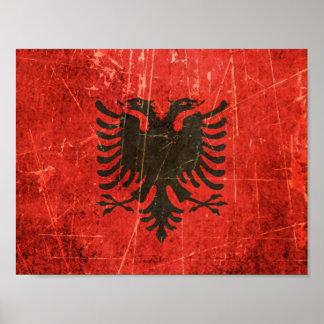 Bandera rasguñada y llevada del albanés del vintag póster