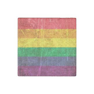 Bandera rasguñada y llevada del arco iris del imán de piedra