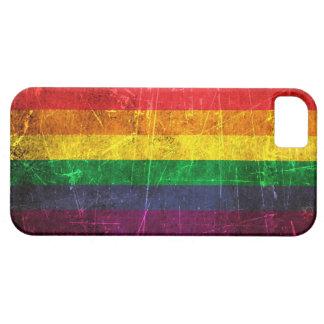 Bandera rasguñada y llevada del arco iris del orgu iPhone 5 Case-Mate carcasas