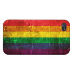 Bandera rasguñada y llevada del arco iris del orgu iPhone 4 cobertura