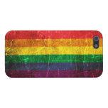 Bandera rasguñada y llevada del arco iris del orgu iPhone 5 cobertura