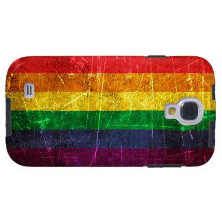 Bandera rasguñada y llevada del arco iris del orgu funda para galaxy s4