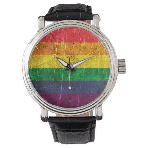 Bandera rasguñada y llevada del arco iris del relojes