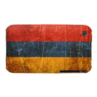 Bandera rasguñada y llevada del armenio del vintag iPhone 3 fundas