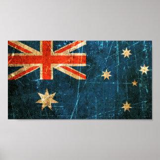 Bandera rasguñada y llevada del australiano del vi póster