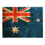 Bandera rasguñada y llevada del australiano del vi postales