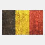 Bandera rasguñada y llevada del belga del vintage rectangular pegatinas