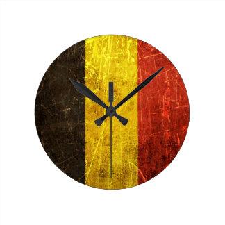 Bandera rasguñada y llevada del belga del vintage reloj redondo mediano
