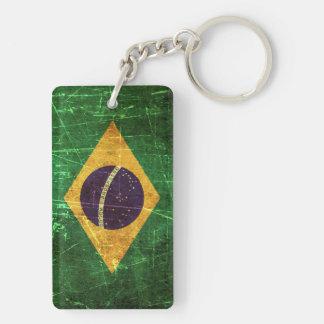 Bandera rasguñada y llevada del brasilen@o del vin llavero rectangular acrílico a doble cara