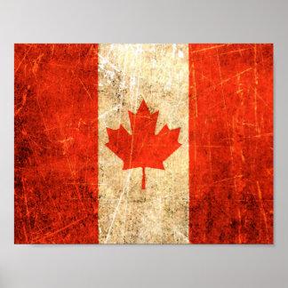 Bandera rasguñada y llevada del canadiense del vin póster