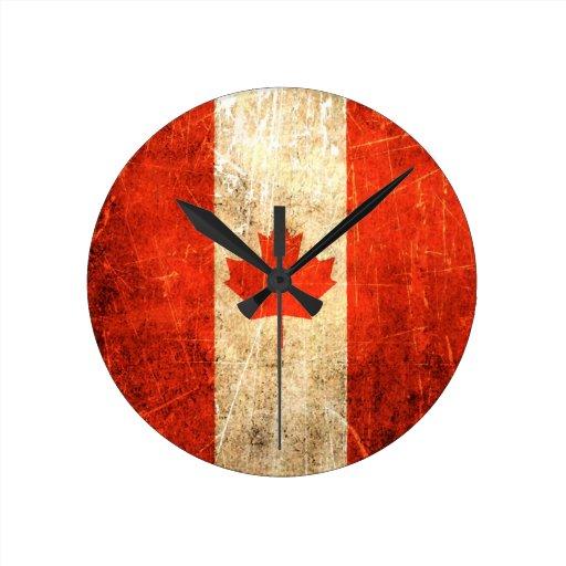 Bandera rasguñada y llevada del canadiense del vin relojes de pared