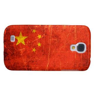 Bandera rasguñada y llevada del chino del vintage