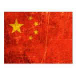 Bandera rasguñada y llevada del chino del vintage tarjetas postales