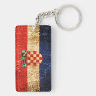 Bandera rasguñada y llevada del croata del vintage llavero rectangular acrílico a doble cara