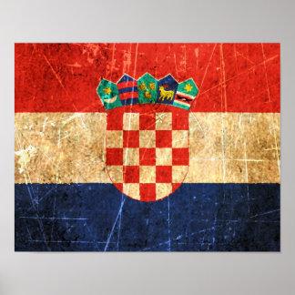 Bandera rasguñada y llevada del croata del vintage póster