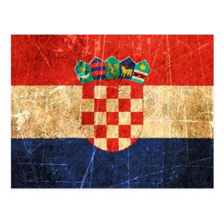 Bandera rasguñada y llevada del croata del vintage postal