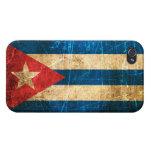 Bandera rasguñada y llevada del cubano del vintage iPhone 4 protectores