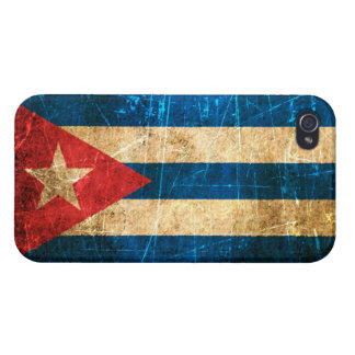 Bandera rasguñada y llevada del cubano del vintage iPhone 4 carcasas