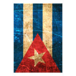 Bandera rasguñada y llevada del cubano del vintage invitaciones personales