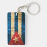 Bandera rasguñada y llevada del cubano del vintage llaveros