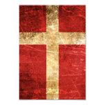 Bandera rasguñada y llevada del danés del vintage invitación 8,9 x 12,7 cm