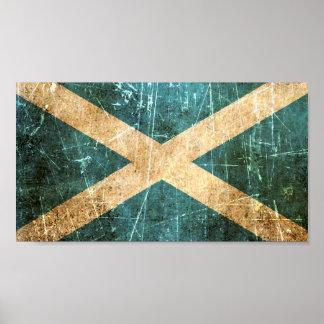 Bandera rasguñada y llevada del escocés del vintag póster