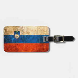 Bandera rasguñada y llevada del esloveno del vinta etiquetas para equipaje