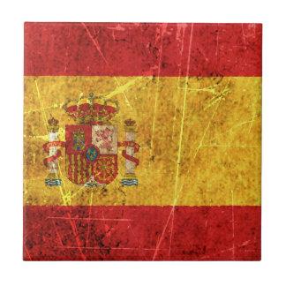 Bandera rasguñada y llevada del español del vintag azulejo ceramica