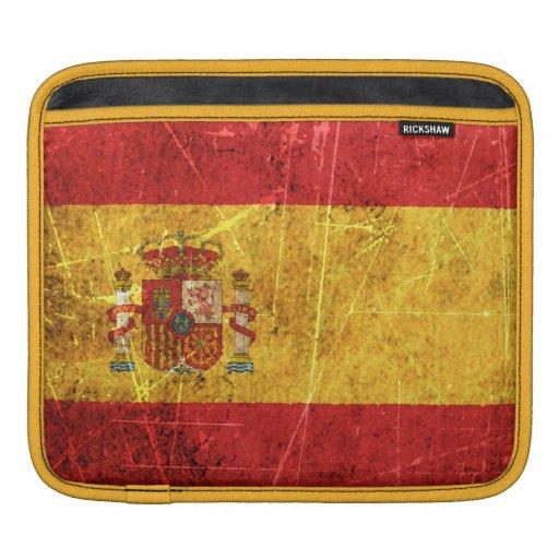Bandera rasguñada y llevada del español del vintag fundas para iPads