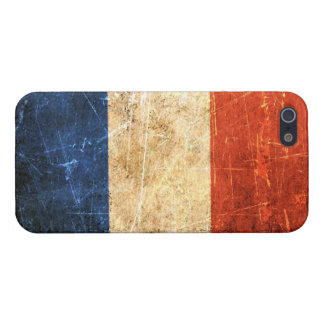 Bandera rasguñada y llevada del francés del vintag iPhone 5 carcasa