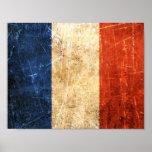Bandera rasguñada y llevada del francés del vintag posters