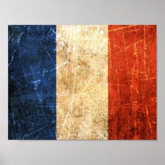 Bandera rasguñada y llevada del francés del vintag póster