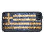 Bandera rasguñada y llevada del Griego del vintage iPhone 5 Case-Mate Cárcasas