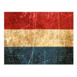 Bandera rasguñada y llevada del holandés del vinta tarjeta postal