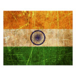 Bandera rasguñada y llevada del indio del vintage poster