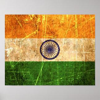 Bandera rasguñada y llevada del indio del vintage póster